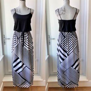 Black and White Asymmetrical Striped Maxi Dress